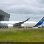 """Painting of the first A350 XWB """"MSN001"""" was today fully completed as it emerged in its Airbus livery out from the paintshop in Toulouse. The painting follows the recent completion of MSN001's flight-test-instrumentation (FTI) verification and final closure of all aircraft zones."""
