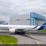 """Painting of the first A350 XWB """"MSN001"""" was today fully completed as it emerged in its Airbus livery out from the paintshop in Toulouse. Last month the aircraft underwent its engines installation, and passed a subsequent intensive phase of ground vibration tests"""