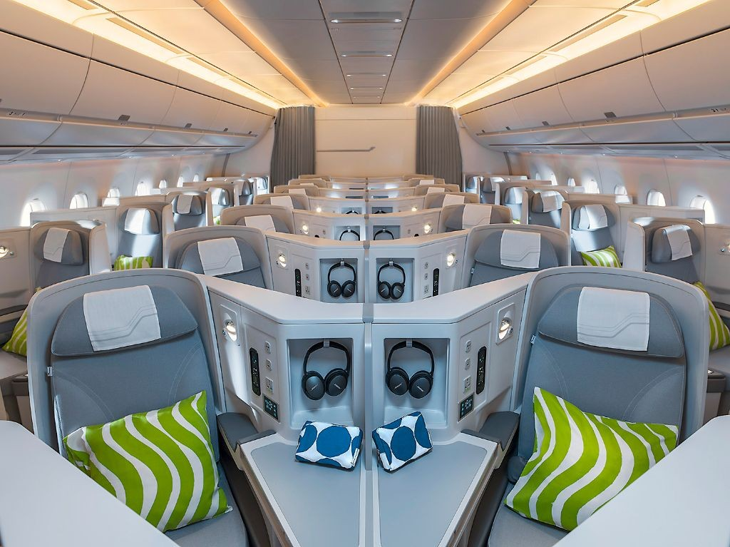 The A350's cabin design is intended to give Finnair passengers a unique Nordic experience.  (Finnair)