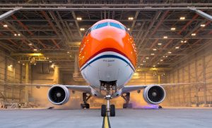The colours of the Dutch flag have been incorporated into the jet's cheatline. KLM/Menno Mennes