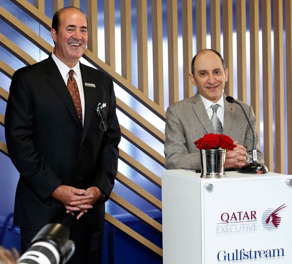 Gulfstream Aerospace President Mark Burns and Qatar Airways Group Chief Executive Akbar Al Baker at the press conference announcing the deal. Qatar Airways