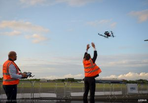 Manual launch of the drone during its demonstration flight over the A380 in the static park at the Farnborough Airshow. (Airbus)