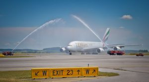 Emirates flight EK127 receives a water cannon salute on arrival at Vienna. Emirates