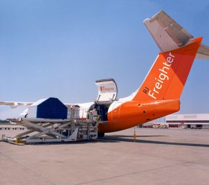 Cargo being loaded into the BAE Systems RJ Freighter concept. (Photo BAE Systems)