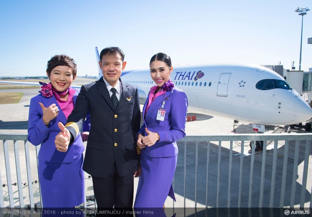 Thai crew pose with the new jet at the Delivery Centre at Toulouse. Airbus