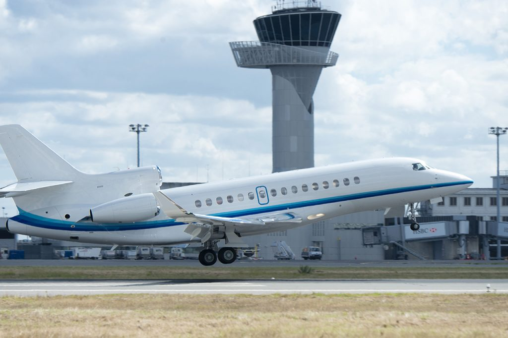 Amjet Executive's Falcon 8X gets airborne. Dassault Aviation