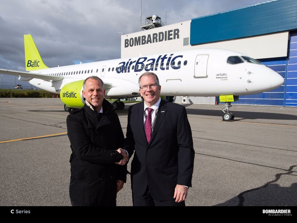 airBaltic CEO Martin Gauss and Bombardier's Rob Dewar. Bombardier