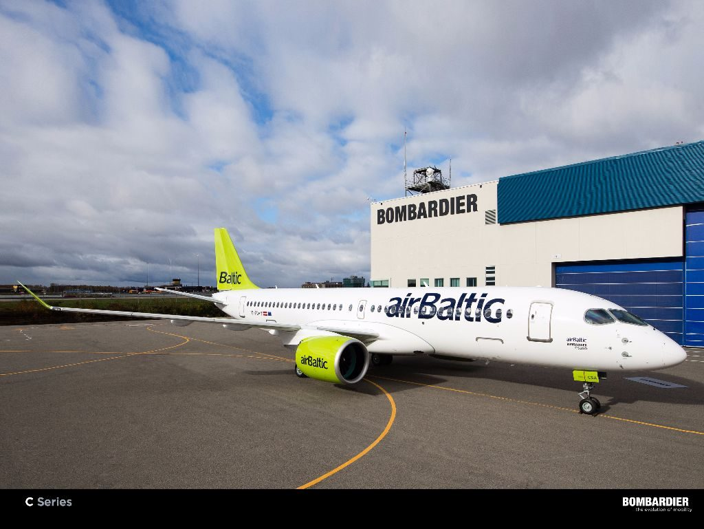 The first CS300 for airBaltic at Bombardier's Mirabel plant. Bombardier
